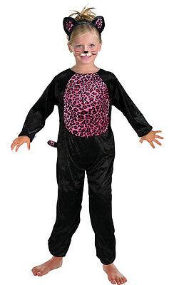 Mädchen Rosa Schwarze Katze Kostüm Anzug Schwanz & Ohren Halloween Outfit Neu ()