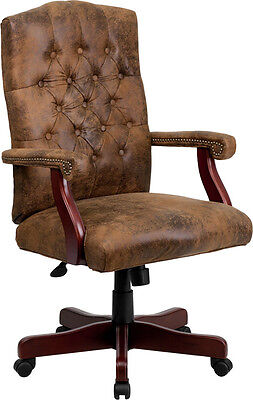 Flash Furniture Bomber Brown Classic Executive Swivel Office Chair 802-BRN-GG