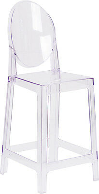 Modern Contemporary Ghost Counter Stool in Transparent Crystal with Oval Back