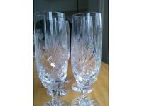 Hand cut crystal champagne glasses