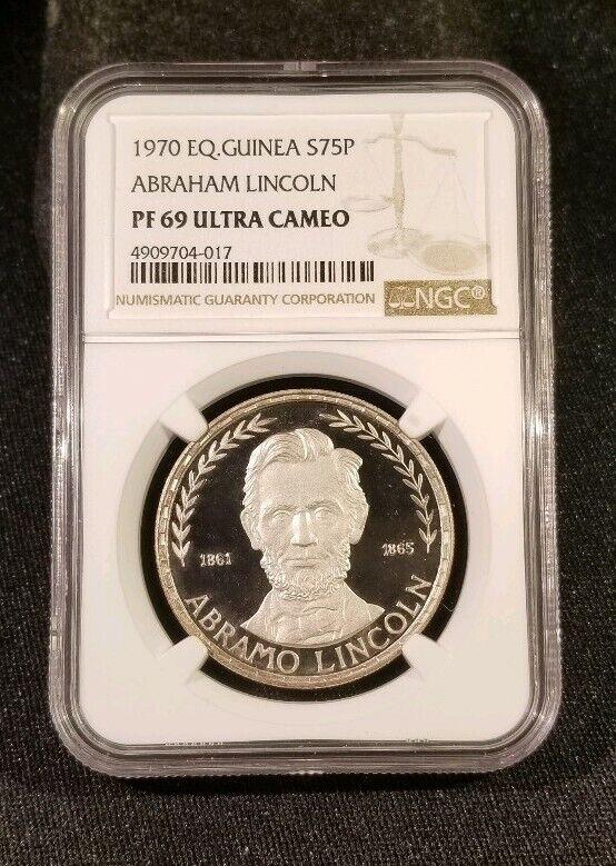 1970 Equatorial Guinea Abraham Lincoln Silver 75 Pesetas Coin  NGC PR69 UC