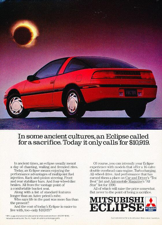 1990 Mitsubishi Eclipse - All stars - Vintage Advertisement Ad A20-B