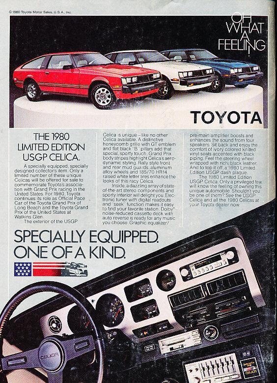 1980 Toyota Celica Supra USGP Race  - Classic Vintage Advertisement Ad D29