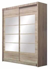 WARDROBE, SHELVES, RAIL, DRAWERS, STORAGE, DECORATIVE MIRRORS, SONOMA OAK, HOME DELIVERY AVAILABLE