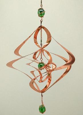 (Wind Spinner - Copper Sculpture Spiral with Green Orbs - Outdoor/Indoor  )