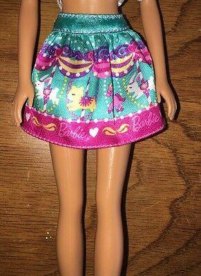 Barbie Green Aqua Blue Carousel Dog Pink White Logo Doll Clothes Skirt