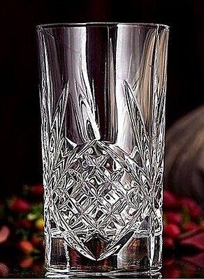 SET 4 GODINGER DUBLIN Highball Glasses Lead Crystal Tumbler Starburst Cut ~Boxed