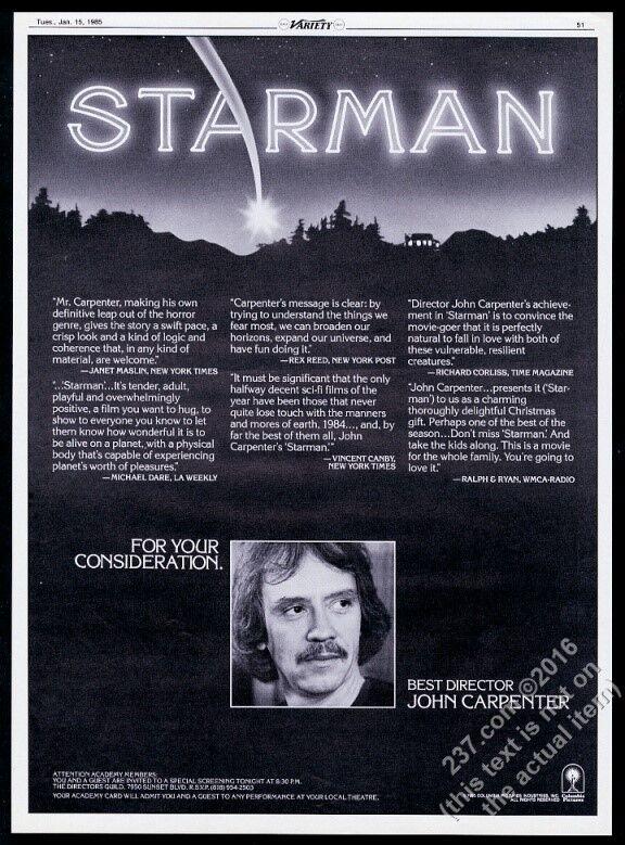 1985 John Carpenter photo Starman movie trade print ad