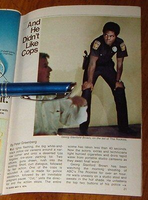 1974 Tv Article~GEORG STANFORD BROWN~THE ROOKIES~LOS ANGELES POLICE TV SERIES