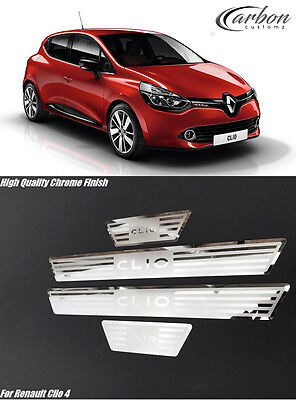Renault Clio IV Clio 4 2014-2017 Stainless Steel Door Sill Protector Plates Set