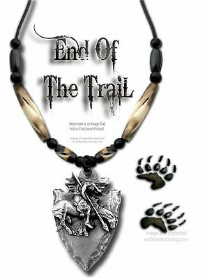 RUGGED END OF TRAIL NECKLACE - CARVED BUFFALO BONE BEAD JEWELRY - FREE SHIP #W*