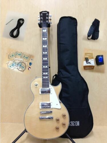 Haze E-238A/N Electric Guitar w/Flame Maple Veneer +Free Gig Bag, tuner, strings