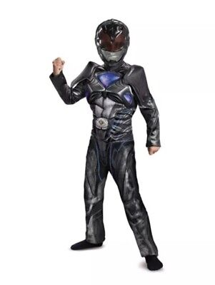 Power Rangers, Black Ranger Classic Muscle Costume, Boy's Large 10-12 Disguise - Black Boy Muscle