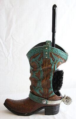Decorative Cowboy Boot w/ Spur Toilet Bowl Cleaner Brush & Holder Set Decorative Toilet Brush Holder