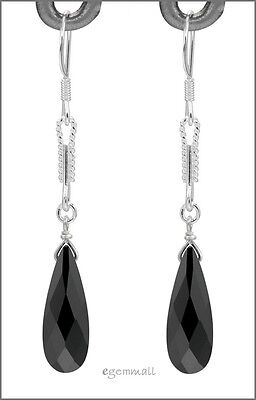 Sterling Silver Dangle Drop Earrings w/CZ Black Briolette #53032 ()