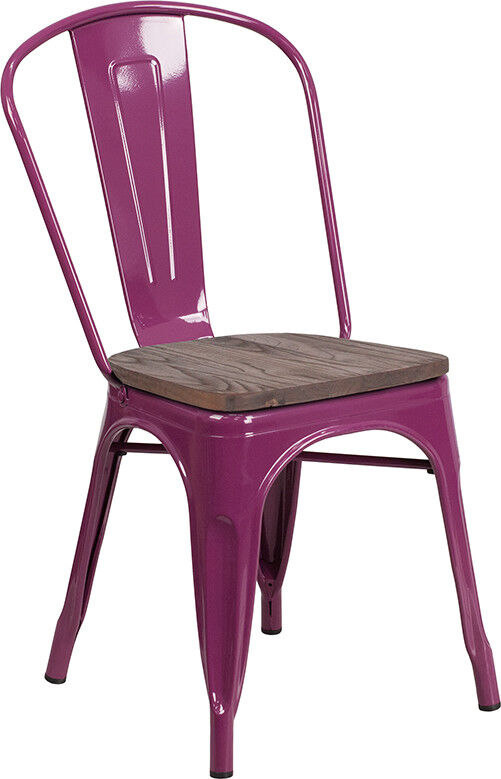 Marvelous Details About Industrial Style Purple Metal Stackable Restaurant Chair With Wood Seat Bralicious Painted Fabric Chair Ideas Braliciousco