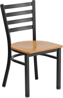 Restaurant Metal Dining Chairs Natural Wood Seat Lifetime Frame Warranty