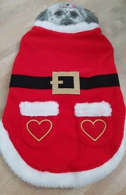 ACCESSORIZE SANTA DOG OUTFIT WITH HEART  POCKETS SIZE MEDIUM