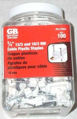 100 Gardner Bender Ps-175zj 34 Electrical Wire Staples Cable Straps 123-103