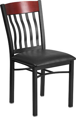 Lot Of 20 Vertical Back Black Metal And Mahogany Wood Restaurant Chair