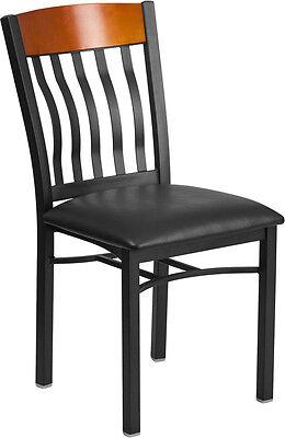 Lot Of 20 Vertical Back Black Metal Cherry Wood Restaurant Chair