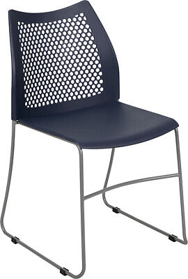 Heavy Duty Navy Stack Office Chair With Sled Metal Base - Waiting Room Chair