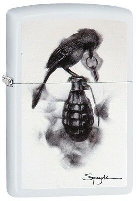 """Zippo Lighter """"Spazuk - Bird on Hand Grenade"""" No 29645 on white matte - New"""