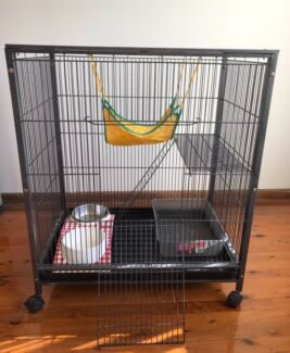 Ferret cage, litter tray, food and water bowl