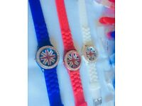 Job Lot Of Ladies/ Gents unisex fashion Union Jack silicone/ rubber watches.