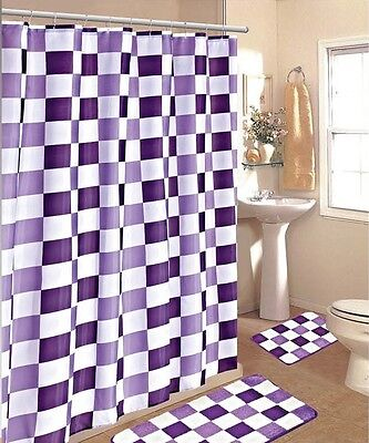 15PC PURPLE WHITE CHECKERS  BATHROOM BATH MATS SET RUG CARPET SHOWER CURTAIN #2
