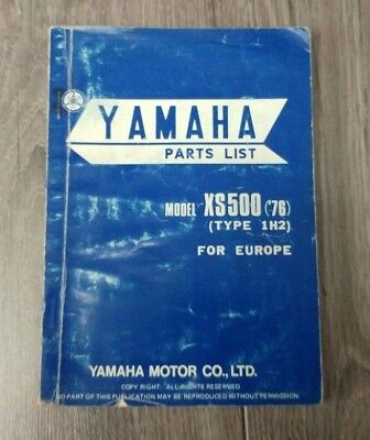 YAMAHA XS500 ('76) (TYPE 1H2) PARTS LIST 1H2-28198-E5