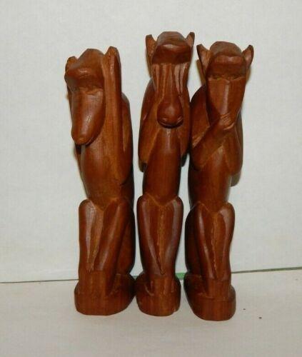 HAND-CARVED WOODEN MONKEYS set of three SEE NO EVIL, HEAR NO EVIL, SPEAK NO EVIL