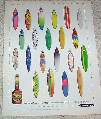 1991 ad page -DeKuyper Key Largo Tropical Schnapps - surfboards vintage PRINT AD