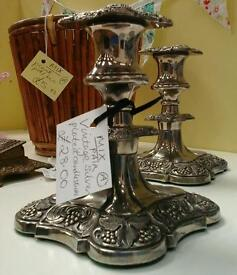 Silver plated candlesticks. MIX