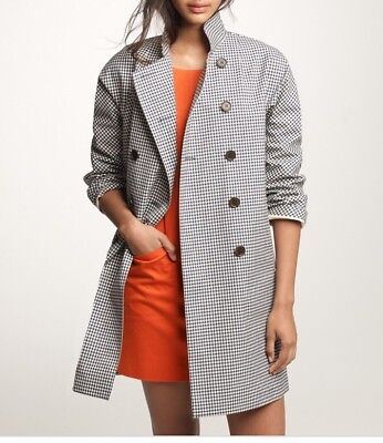 NWT JCREW MACKINTOSH ROUSAY TRENCH COAT IN GINGHAM L BLACK IVORY 39829 RARE!