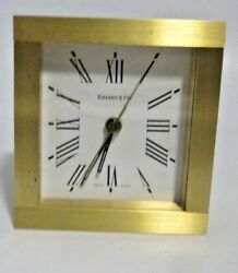 Tiffany & Co. Heavy Machined Bronze / Brass Square Mantel Desk Clock-Working
