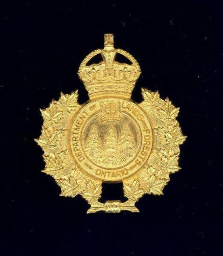 Ontario Dept of Lands & Forests c.1930-50 Senior Officer Gilt cap badge.Original