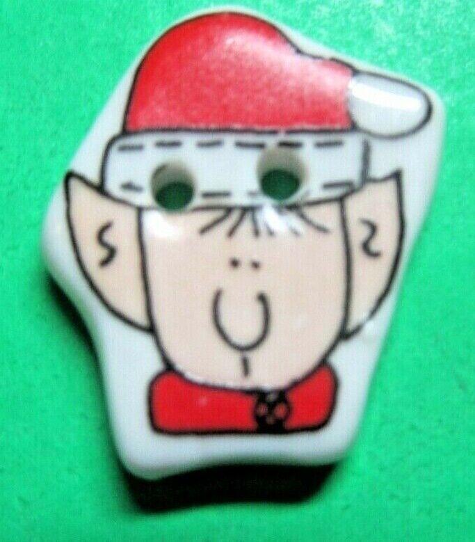 "(1) 1"" SANTA HAT ELF CERAMIC 2-HOLE CHRISTMAS BUTTON (T183)"