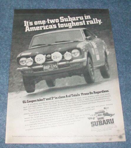 "1973 Subaru GL Coupe Vintage Ad ""One-Two Subaru in America"