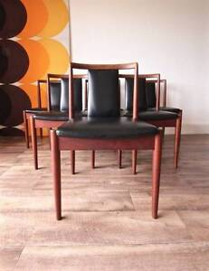 Set of 6 Authentic Retro Vintage Parker Black Teak Dining Chairs Hurlstone Park Canterbury Area Preview