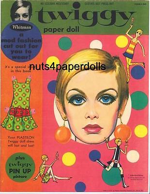 VINTAGE 1967 TWIGGY PAPER DOLLS HD LASER REPRO~LO PRICE~HI QUAL~TOP SELLR
