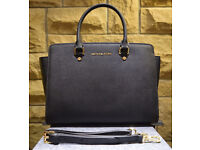 "Michael Kors ""Selma"" Genuine Black Handbag (New)"