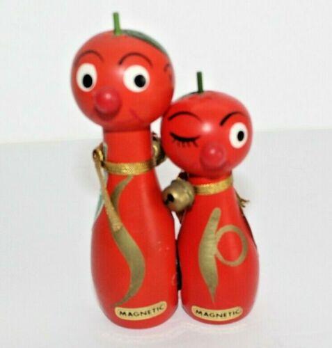 Pair Hard Plastic Magnetic Salt & Pepper Shakers Anthropomorphic Tomatoes?