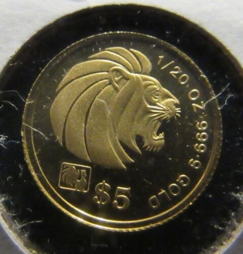 RARE $5 DOLLARS GOLD 1993 SINGAPORE LION LTD 500 PCS MINTAGE 1/20 OZT .999 GOLD