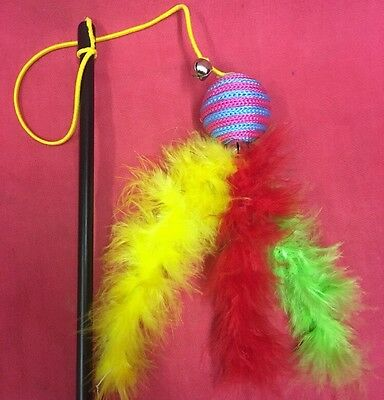 Cat Kitten Toy Catnip Feather Ball On Elastic Teaser Dangler Interactive