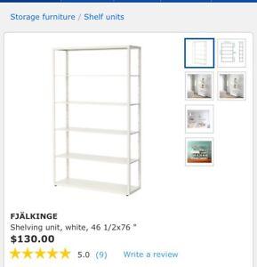 IKEA white metal shelving units (8 available)