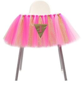 Pink and gold 1st birthday highchair decor