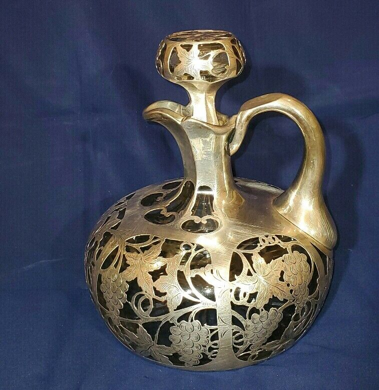 STERLING SILVER OVERLAY CLEAR CRYSTAL GLASS WINE DECANTER ALVIN MFG Co.