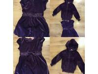 Velvety purple dress and same colour furry jacket age 3