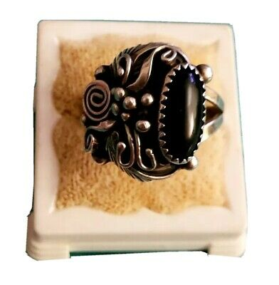 1940s Jewelry Styles and History 1930'S-1940'S SIGNED NATIVE AMERICAN NAVAJO BLACK ONYX & STERLING SILVER RING $124.99 AT vintagedancer.com